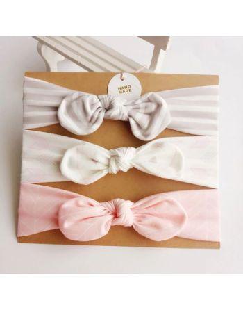 Haarband roze met witte...