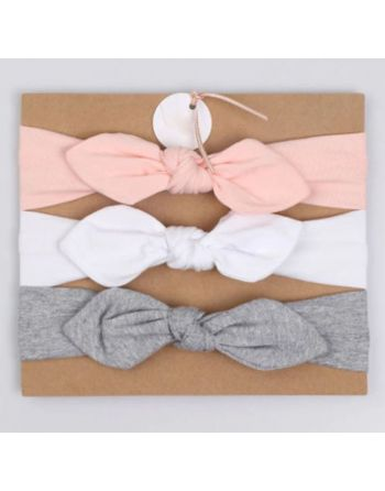 Haarband roze, wit en grijs