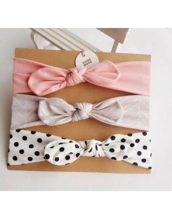 Haarband roze, grijs met...