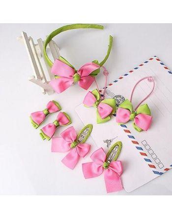 Haarbandje roze/groen met...