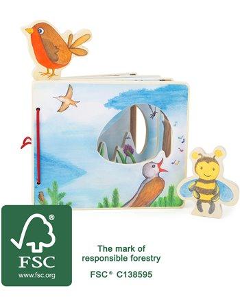 Prentenboek vogels en bijen - hout