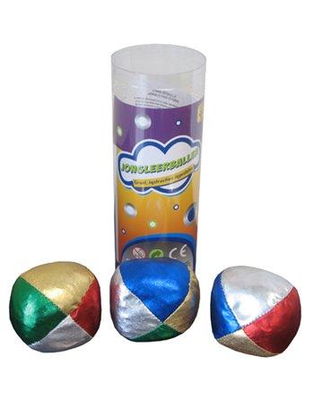 3 jongleerballen 65mm metallic 756002