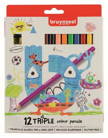 Bruynzeel 12 triple coloured pencils