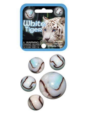 2 White tiger knikkers 42mm 4150