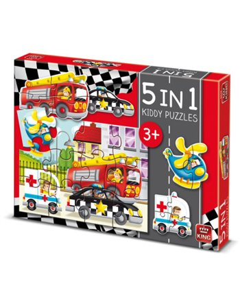 King 5 in 1 kiddy puzzels cars 5076