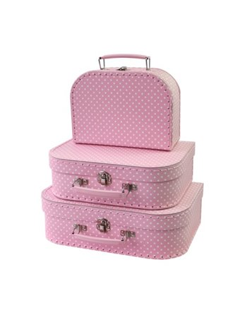 3 koffers Polkadot roze 36966
