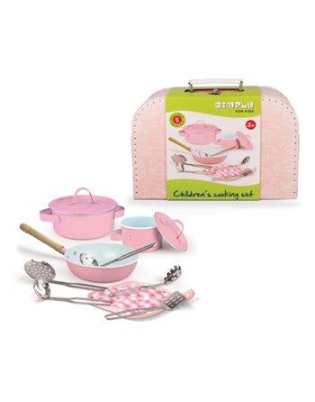 Kookset roze metaal 8 dlg. in koffer