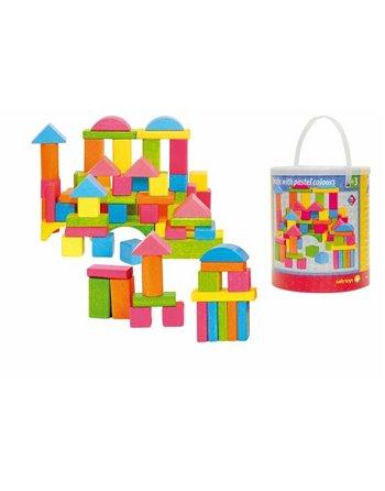 Woody 75 blokken pastel kleuren 90908