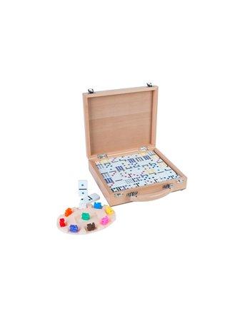 Domino spel houten kist 91 stenen 250150