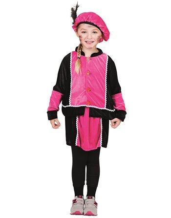 Kinderkostuum Zw.Piet met rokje roze 4-6