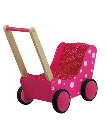 Poppenwagen stippen roze 01170