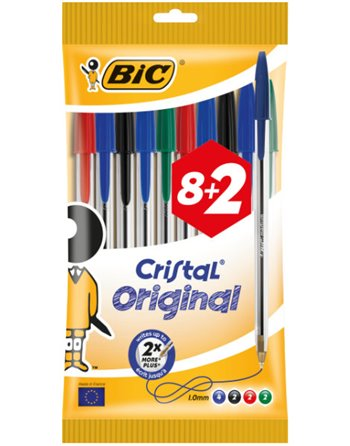 8+2 Bic Cristal pennen ass.