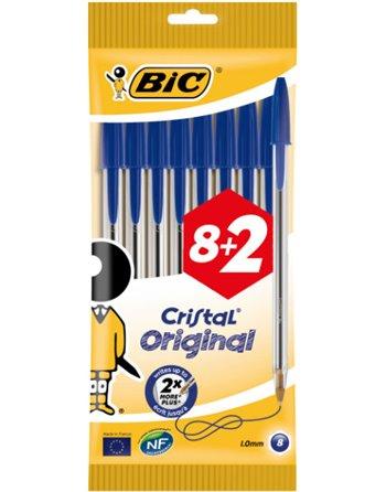 8+2 Bic Cristal pennen medium blauw