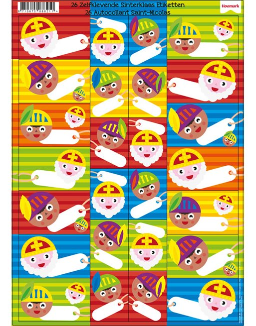 Sinterklaas stickervel met 26 etiketten